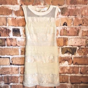 New York & company floral ivory lace dress size 4